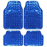 EUGAD 7109 Auto Fußmatten Set, ALU Look, Kunststoff, Protector, 4-teilig, universal, Luxus Design, Blau