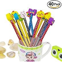 Conjunto de lápiz de dibujos animados, Attiant 40 piezas de lápiz de madera con lápices de color grafito de goma con borradores, material escolar Regalo de los niños, para fiesta de cumpleaños de los niños Fiesta de cumpleaños