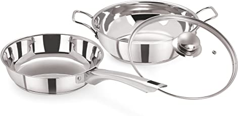 Pristine Induction Compatible Stainless Steel Sandwich Base Cookware Set, Fry Pan & Kadai with Glass Lid 22 cm / 2Ltrs, 3PCS, Silver