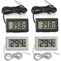 Thlevel Mini Digital LCD Thermomètre Hygromètre Température Humidité -50~70 ℃ 10% ~ 99% RH (6 PCS - A) (2X Noir 2X Blanc…