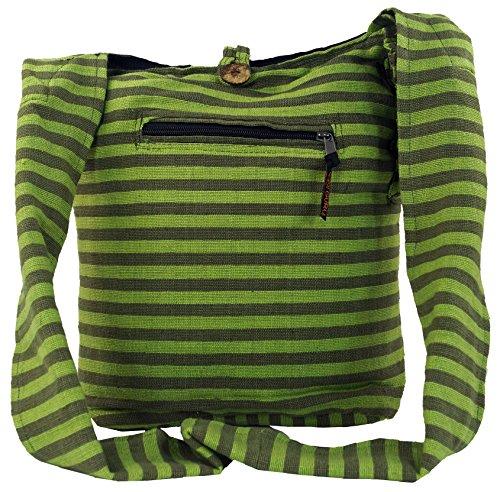 Guru-Shop Sadhu Bag Gestreift, Goa Tasche, Schulterbeutel - Braun, Herren/Damen, Baumwolle, 40x35x25 cm, Bunter Stoffbeutel lemon/olive