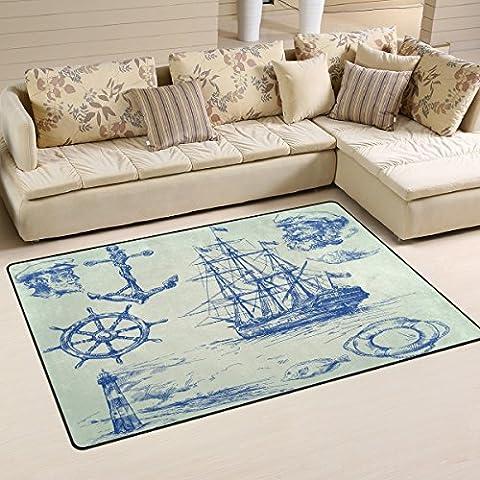 COOSUN Nautical Elements Area Rug Carpet Non-Slip Floor Mat Doormats for Living Room Bedroom 60 x 39 inches