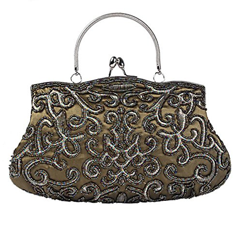 frau abendtaschen retro perlen satin bankett party kupplung handtasche. (28 x 22 cm) green