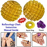 Wooden Hand / Foot Pointed Acupressure Ball Massager Set of 2 Pcs