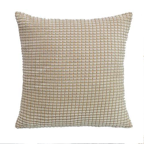 SUNOOMY Quadratisch Überwurf Toss Kissen Kissen Fällen für Couch Sofa Bett Stuhl, Bequeme Superweicher Cord Mais Gestreift, 45,7x 45,7cm 45cm 18''X18'' Cream Cheese -
