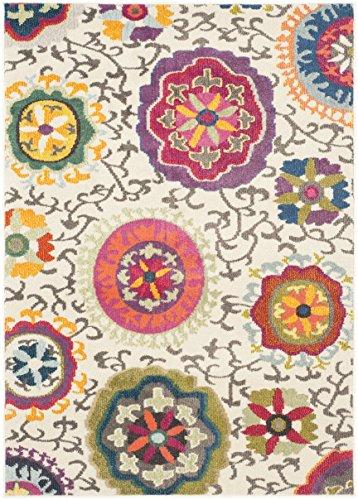 Safavieh MNC233A Gewaschener Teppich zeitgenössisches Muster, MNC233, Gewebter Polypropylen, Elfenbein/Mehrfarbig, 91 X 152 cm