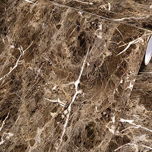 Dark Brown Counter (MULLSAN Dark Brown Marmor-Glanzfolie, Vinylfolie, selbstklebendes PVC-Papier, 45 x 200 cm, Rolle)