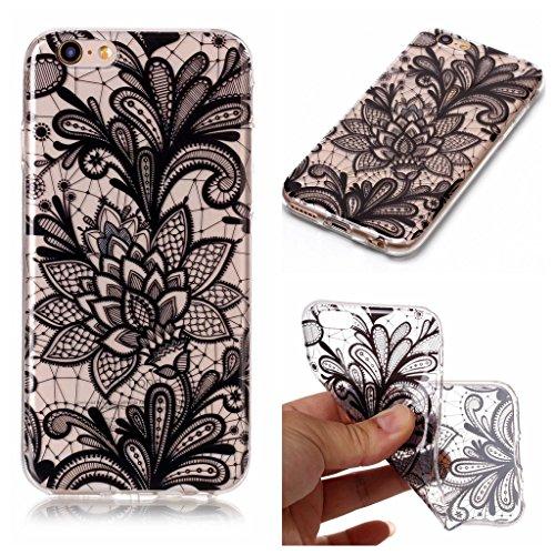 Custodia per iPhone 6S / 6 4.7 ,JIENI Trasparente Protezione Morbido Art Datura fiori TPU Bumper Cover Silicone Flessibile Case per iPhone 6S / 6 4.7 BF21