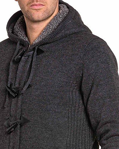 BLZ jeans - Gilet homme fourré anthracite zippé à capuche Gris