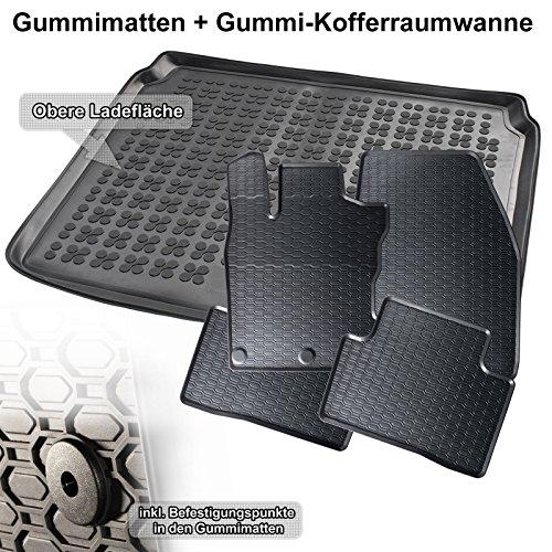 Preisvergleich Produktbild Automatten-Experts 5-teiliges Set: Auto-Gummimatten Fußmatten und Kofferraum-wanne für den oberen Laderaum 879/4C+231877KW