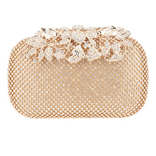 Bonjanvye Flower Purses with Crystal Rhinestones Evening Clutch Bags Red Gold