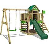 FATMOOSE Parque infantil de madera JazzyJungle con columpio y tobogán verde, Casa de juegos de jardín con arenero y escalera