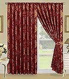 Faith Vorhange Ornament Barock Rot Vorhänge mit Kräuselband 230x230cm Gardine für Wohnzimmer Schlafzimmer -2er set