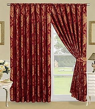 Faith Vorhang Ornament Barock Rot Gardinen Mit Kruselband 2 Vorhnge 167x183cm BxH Gardine Fr Wohnzimmer Schlafzimmer 2er Set Amazonde Kche