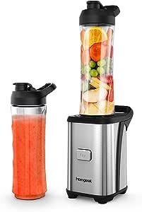 Homgeek Mini Blender 350W, Blender smoothie et Milk-shake avec 2 Bouteilles Portables de 600ml, 2 Couvercles sans BPA et Corps en Inox