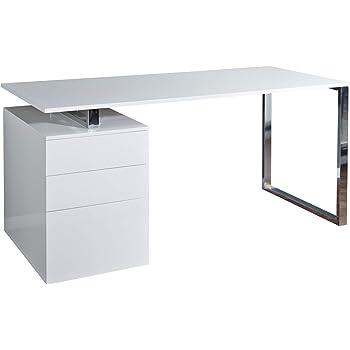 invicta interior design schreibtisch compact hochglanz weiss b rotisch 160cm tisch b ro chrom