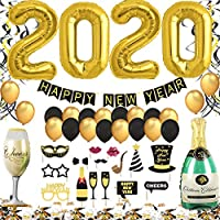 New Year's Eve Party Decoration 2020 XXL Set, Happy New Year Banner, 2020 Giant Foil Balloons, New Years Eve Photo Booth Props, Black and Gold Swirls, Balloons and Confetti