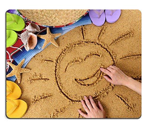 MSD Naturkautschuk Mousepad Bild-ID: 37535987lachende Sonne in sand auf einem mexikanischen Beach mit Sombrero Stroh hat Traditionelle SARAPE Decke Seestern und Muscheln 4051 -