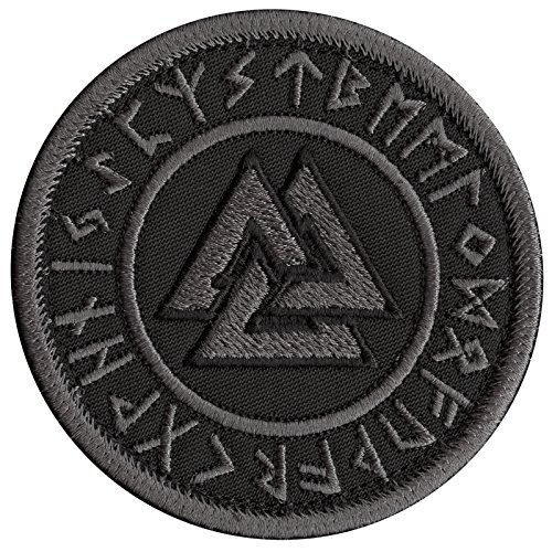 Black Valknut Viking Norse ACU Subdued Runic Heathen Pagan Odin God Rune Morale Tactical Sew Iron on Patch