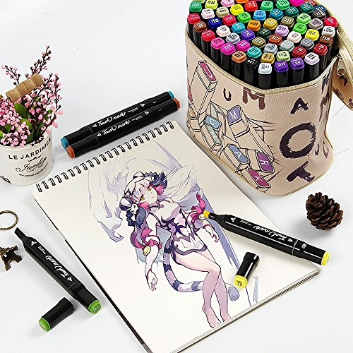 Mengma Multicolor Graphic Marker Pen - Animation Design Interior Design and Student 40 Colours - Alcohol Based Ink - Twin Head Broad and Fine Point Tip with Cartoon Gift Bag(40 Colours for Anime)