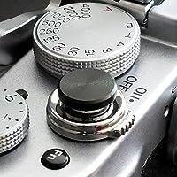 Auslöseknopf aus Aluminium in Schwarz (flach gerillt, 10mm) für Leica M-Serie, Fuji X100, X100S, X100T, X100F, X10, X20, X30, X-T2, X-T10, X-T20, X-Pro1, X-Pro2, X-E1, X-E2, X-E2S und die meisten Kameras mit Drahtauslöser-Gewinde, innerhalb von 24 Stunden versandbereit