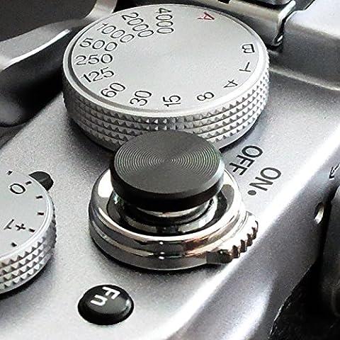 Soft Déclencheur en aluminium en noir (plat, rainuré, 10mm) pour Leica M-Serie, Fuji X100, X100S, X100T, X10, X20, X30, X-Pro1, X-Pro2, X-E1, X-E2, X-E2S et tous les appareils photos avec la bouche filetage conique