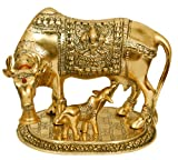 Large Gold Elegant Cow and Calf Metal Statue Holy Cow and Calf Statue Spiritual Showpiece Figurine Sculpture House Warming Gift & Home Decor Congratulatory Blessing Gift Item