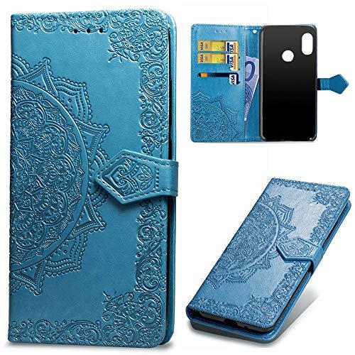 Beaulife. Xiaomi Mi A2 Lite Funda Cuero PU Floral Impreso Prueba Choques Cierre Libro Característica Soporte Xiaomi Redmi 6 Pro Caso Cubrir Mandala en Relieve Piel Cubierta Tapa Azul
