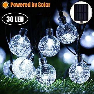 Marvelights Cristal Sueño Guirnalda Luces Solar Impermeable Interior y Exterior 30 Led para Gardin Navidad Fiesta Decorativas Colores y Blancas LED Iluminado