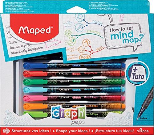 WIGO Graph Peps Set mit 8 Stück Col Ass Visiva Map Box -