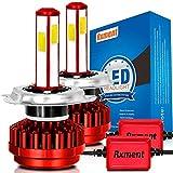 H4 LED Faro Bombillas - 8000Lm 6000K 80W 9~36V Bombilla de luz LED H4 para faros de coche - alta y doble haz bajo(H/L) luz blanca Kit de conversión (2 PCS)