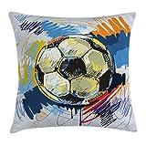 Abakuhaus Fußball Kissenbezug, Buntes ausführliches Artful, 50 x 50 cm, Digitaldruck Wasser Resistent Farbfest mit versteckten Reißverluß und Waschbar, Mehrfarbig
