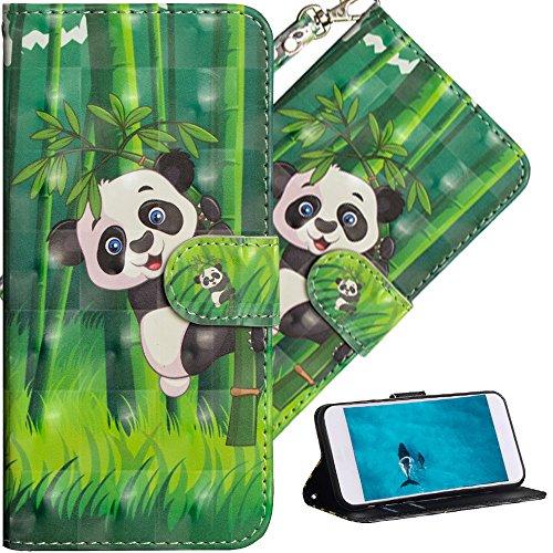 COTDINFOR Huawei Y5 2017 Hülle für Geschenk Lederhülle 3D-Effekt Kartenfächer Schutzhülle Protective Handy Tasche Schale Standfunktion Etui für Huawei Y5 2017 / Y6 2017 Climbing Bamboo Panda YX.