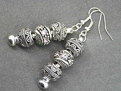 Boucles d'oreilles Charms Thurcolas modèle Manhattan avec perles de métal et cristaux roses
