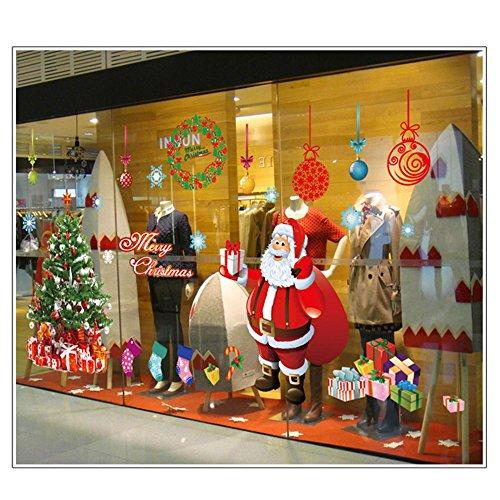 FINEJO New Christmas Wall Sticker DIY Santa Claus Xmas Tree Window Home Decoration by Finejo