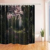 CDHBH Magic Forest Decor Blume auf Das Holz Deko-Baum mit Nebel Polyester-Duschvorhänge Schimmelresistent-Badezimmer Dusche Vorhang Haken Enthalten 180,3x 180,3cm