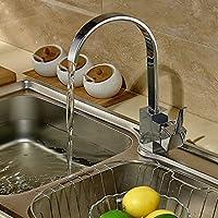 Moderna arco alto da cucina girevole di miscelatore del rubinetto lavandino rubinetto Single Hole cromo lucido rubinetti del bacino, Deck Monte ottone massiccio, 360 gradi