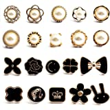 CZF ES 20 Pezzi Camicia da Donna Spilla Bottoni, Bottoni Spilla di Sicurezza, Bottoni a Spilla di Perle, per Decorativo Tessu