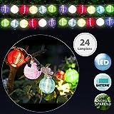 Deuba 24x LED Lampion Lichterkette | Laterne Deko Stofflampe | Batterie-betrieben | sparsame LED-Lampen | 6 verschiedene Farben