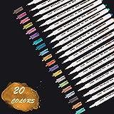 Sporgo Metallic Marker Stifte, 20 Farben Metallic Stifte, Metallic Marker Pens für Kartenherstellung DIY Fotoalbum Gästebuch Hochzeit Papier Holz Glas Kunststoff Geschenkbox Stein- Feiner Spitze(1MM)