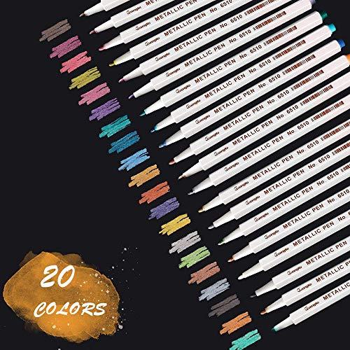 Metallic Marker Stifte, Sporgo 20 Farben Metallic Stifte, Metallic Marker Pens für Kartenherstellung DIY Fotoalbum Gästebuch Hochzeit Papier Holz Glas Kunststoff Geschenkbox Stein- Feiner Spitze(1MM)