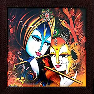 Gorbandh 'Radha Krishna ' Framed Painting (Wood, 35 cm x 2cm x 35 cm, Special Effect Textured)