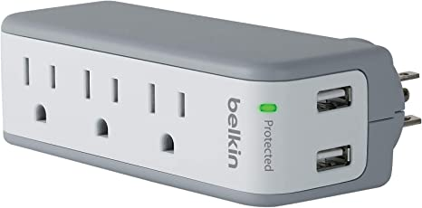 Belkin 3-Outlet SurgePlus Mini Travel Swivel Charger Surge Protector with Dual USB Ports (2.1 AMP/10 Watt), BST300