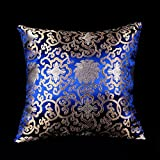 Lorenzo Cana Home Edition Marken Kissenhülle Kissenbezug aus Seide Paisley Barock Damast Blau Königsblau 96012