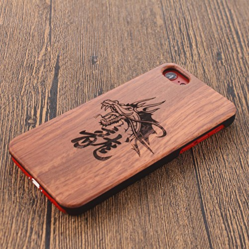 Legno Naturale Case Cover per iphone 7 Plus /iPhone 7+ (5.5 Pollici), Vandot scratch resistantAdvanced vero legno Wooden Intaglio Pattern Legno Naturale Back Cover shock-absorption Nero Opaco Shell ha Designo 15
