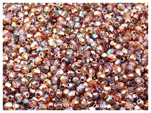 100pcs Tschechische Facettierten Glasperlen Fire-Polished Rund 3 mm Crystal Copper Rainbow -