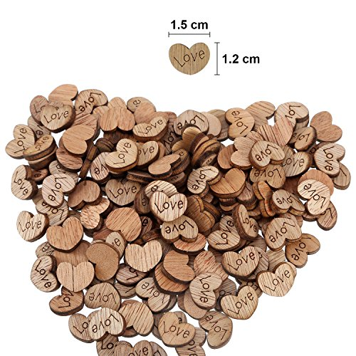 300 Pack Rustic Mini Wooden Heart Shaped Log Slices Art Craft with Love Pattern for Wedding Party Decoration