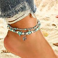 Bohend Boho Tartaruga Spiaggia Cavigliera Argento Multistrato Caviglia Bracciale Turchese stella marina Cavigliere…