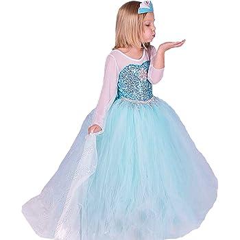 ELSA   ANNA UK Girls Fancy Dress Snow Queen Princess Dress Halloween Costume  UK-FR314 (3-4 years 00b84b256980