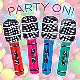 Mikrofon 4er-Sparpack aufblasbar 26cm - der knallbunte Partyspaß